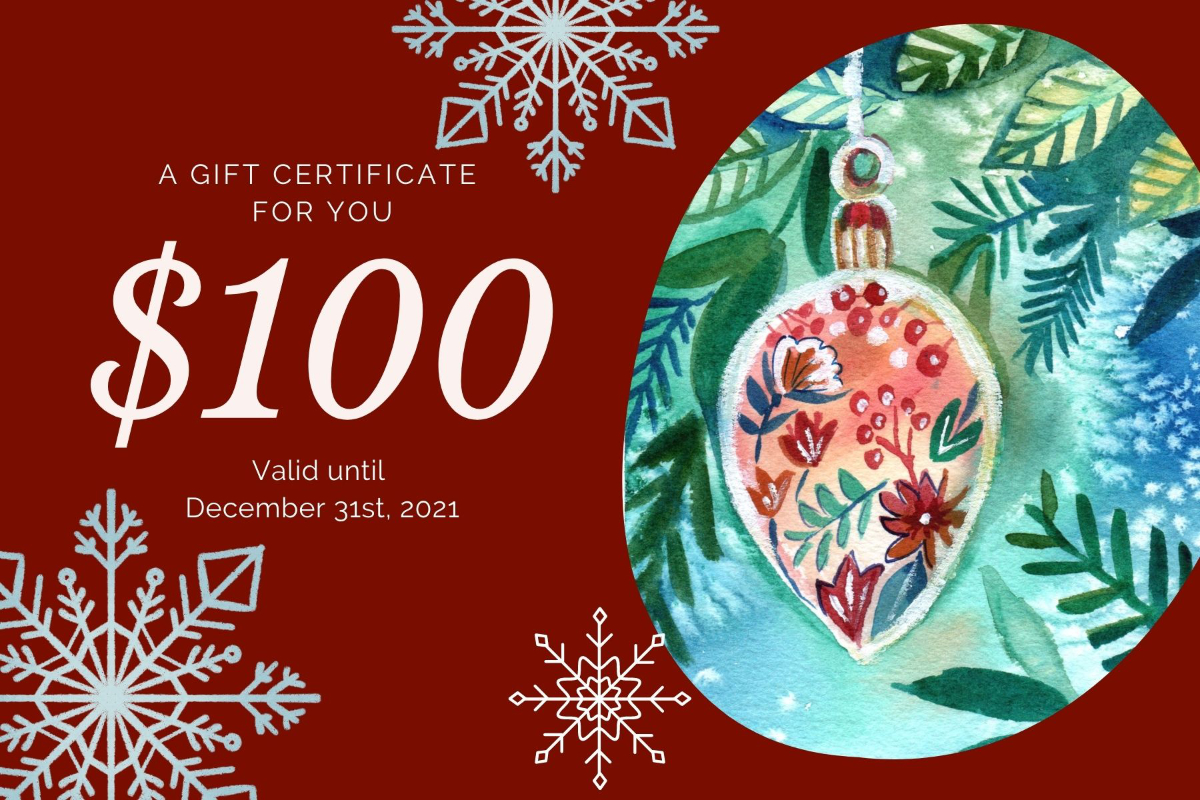 Green Red and Beige Sophisticated Personal Christmas Gift Certif